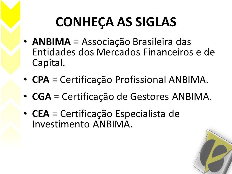 CONHEÇA AS SIGLAS ANBIMA = Associação Brasileira das Entidades dos Mercados Financeiros e de Capital. CPA = Certificação Profissional ANBIMA. CGA = Ce