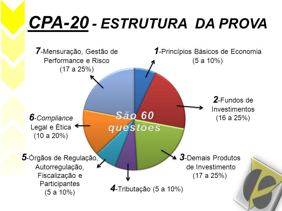 CPA-20 - ESTRUTURA DA PROVA 1 -Princípios Básicos de Economia (5 a 10%) 2 -Fundos de Investimentos (16 a 25%) 3 -Demais Produtos de Investimento (17 a