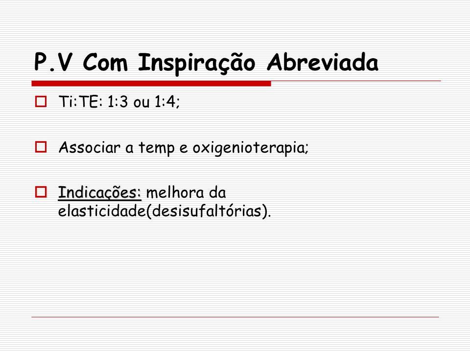 P.V Com Inspiração Abreviada Ti:TE: 1:3 ou 1:4; Associar a temp e oxigenioterapia; Indicações: Indicações: melhora da elasticidade(desisufaltórias).