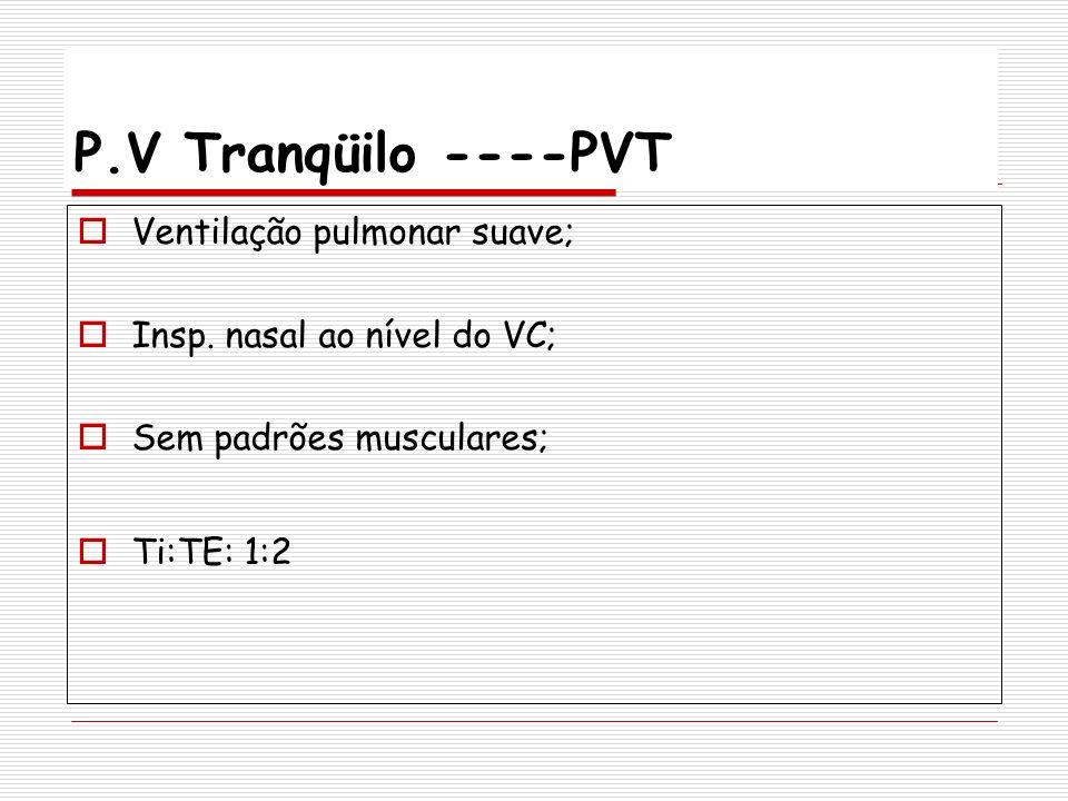 P.V Tranqüilo ----PVT Ventilação pulmonar suave; Insp. nasal ao nível do VC; Sem padrões musculares; Ti:TE: 1:2
