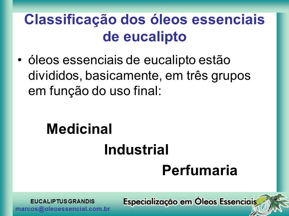 EUCALIPTUS GRANDIS marcos@oleoessencial.com.br Classificação dos óleos essenciais de eucalipto óleos essenciais de eucalipto estão divididos, basicame