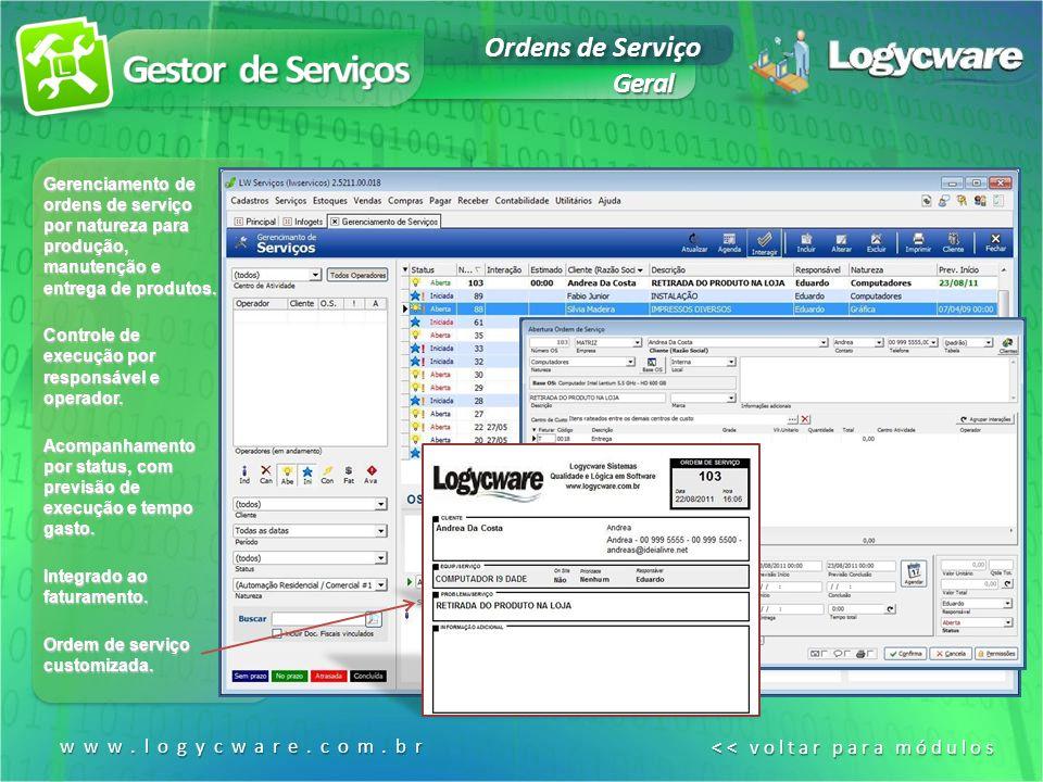 Geral www.logycware.com.br << voltar para módulos << voltar para módulos Gerenciamento de ordens de serviço por natureza para produção, manutenção e entrega de produtos.