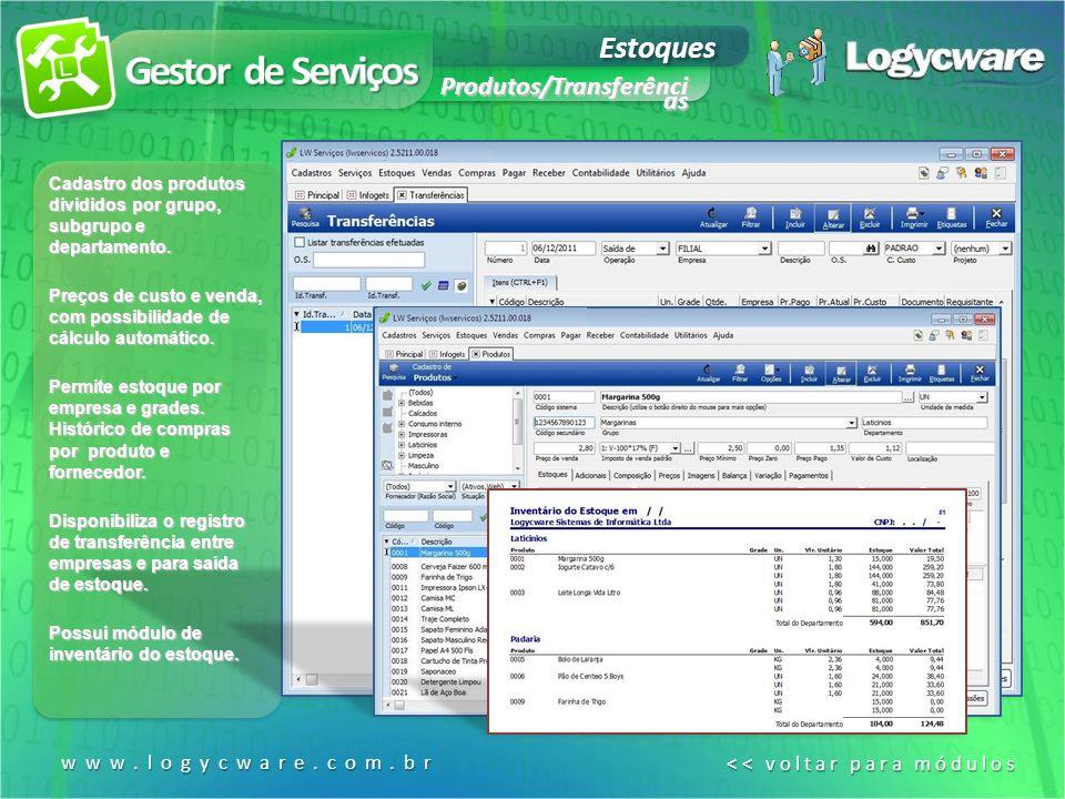 Estoques Produtos/Transferênci as www.logycware.com.br << voltar para módulos << voltar para módulos Cadastro dos produtos divididos por grupo, subgrupo e departamento.
