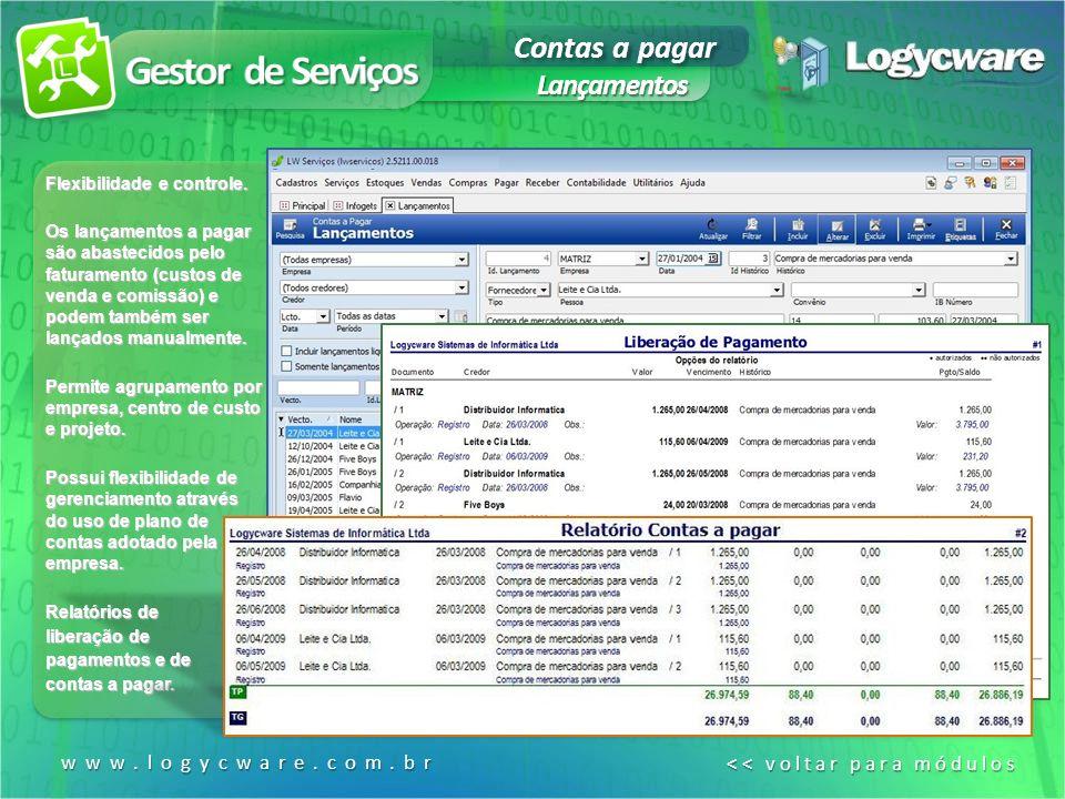 Contas a pagar Lançamentos www.logycware.com.br << voltar para módulos << voltar para módulos Flexibilidade e controle.