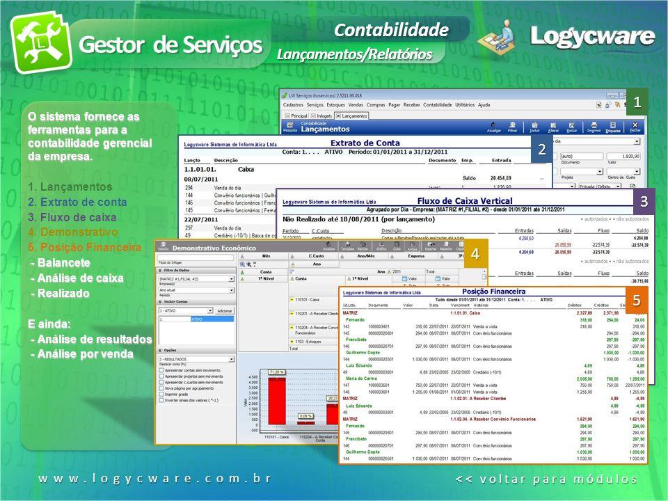 Contabilidade Lançamentos/Relatórios O sistema fornece as ferramentas para a contabilidade gerencial da empresa.