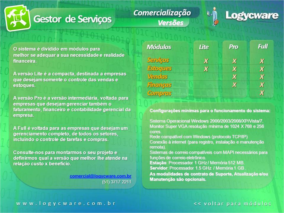 Lite Pro Full Módulos Configurações mínimas para o funcionamento do sistema: Sistema Operacional Windows 2000/2003/2008/XP/Vista/7.