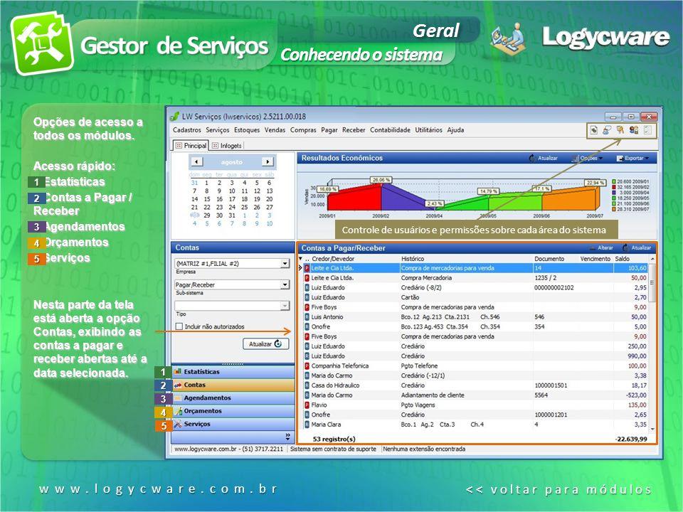 www.logycware.com.br << voltar para módulos << voltar para módulos1 2 3 4 5 Opções de acesso a todos os módulos.