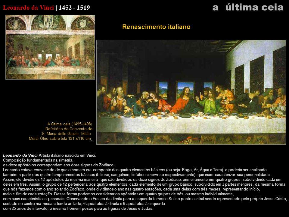 Leonardo da Vinci | 1452 - 1519 Leonardo da Vinci Artista italiano nascido em Vinci. Composição fundamentada na simetria. os doze apóstolos correspond