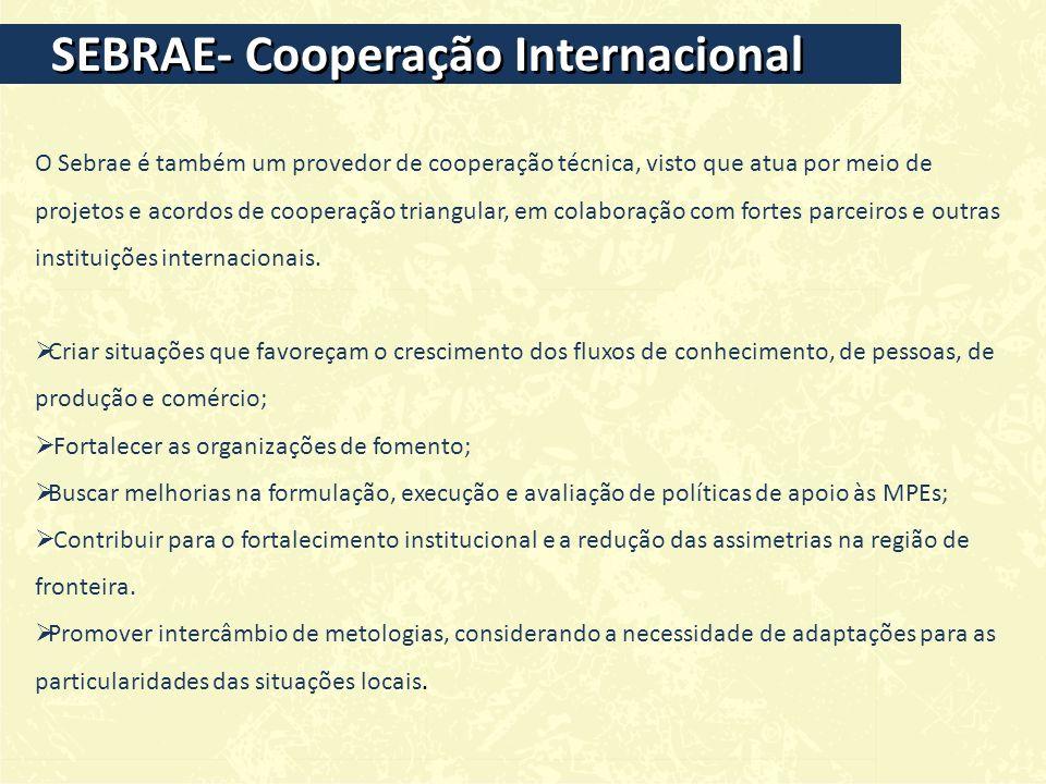 SEBRAE- Cooperação Internacional O Sebrae é também um provedor de cooperação técnica, visto que atua por meio de projetos e acordos de cooperação triangular, em colaboração com fortes parceiros e outras instituições internacionais.