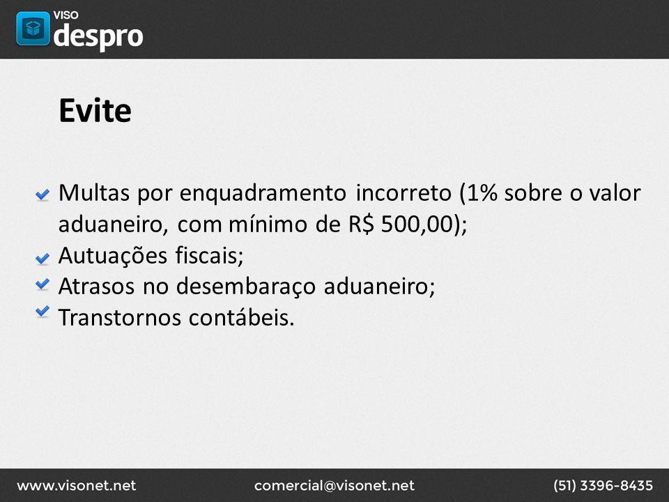 Evite Multas por enquadramento incorreto (1% sobre o valor aduaneiro, com mínimo de R$ 500,00); Autuações fiscais; Atrasos no desembaraço aduaneiro; T