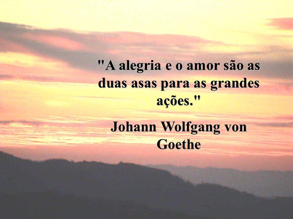 A alegria e o amor são as duas asas para as grandes ações. Johann Wolfgang von Goethe