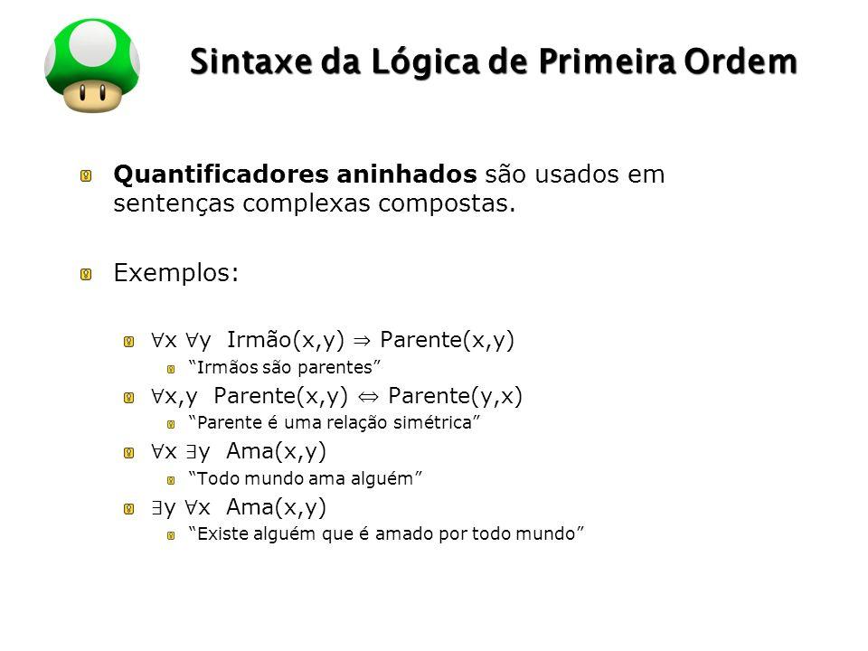 LOGO Sintaxe da Lógica de Primeira Ordem Quantificadores aninhados são usados em sentenças complexas compostas. Exemplos: x y Irmão(x,y) Parente(x,y)