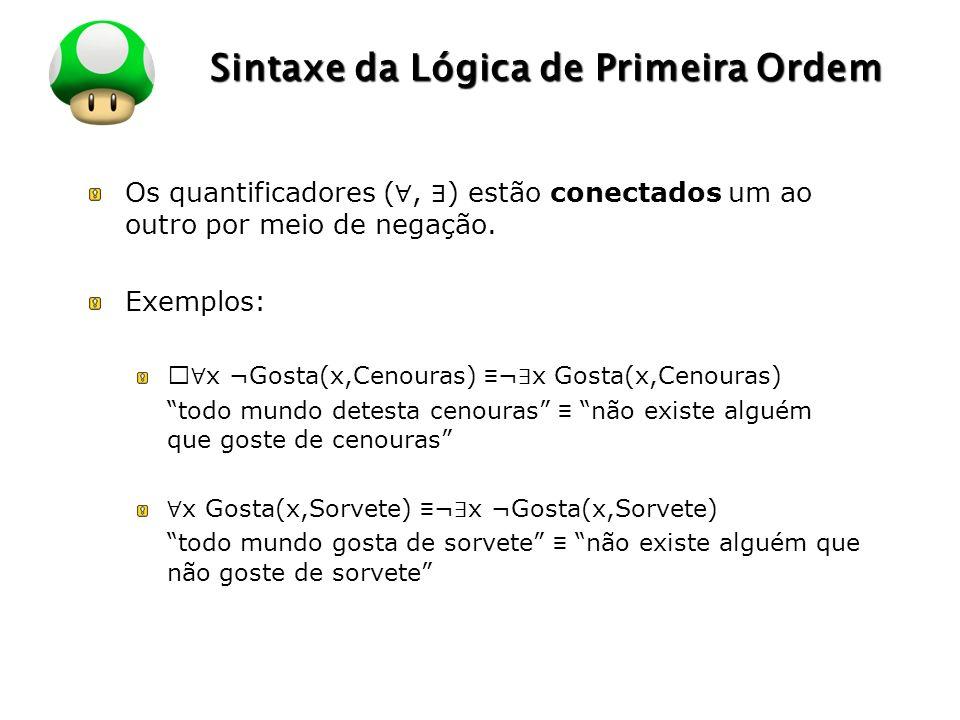 LOGO Sintaxe da Lógica de Primeira Ordem Os quantificadores (, ) estão conectados um ao outro por meio de negação. Exemplos: … x ¬Gosta(x,Cenouras) ¬