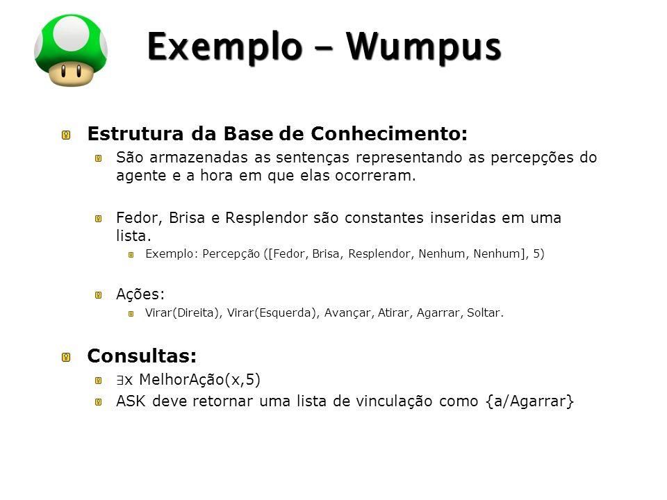 LOGO Exemplo - Wumpus Estrutura da Base de Conhecimento: São armazenadas as sentenças representando as percepções do agente e a hora em que elas ocorr