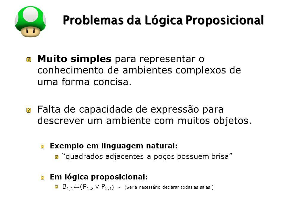 LOGO Problemas da Lógica Proposicional Muito simples para representar o conhecimento de ambientes complexos de uma forma concisa. Falta de capacidade