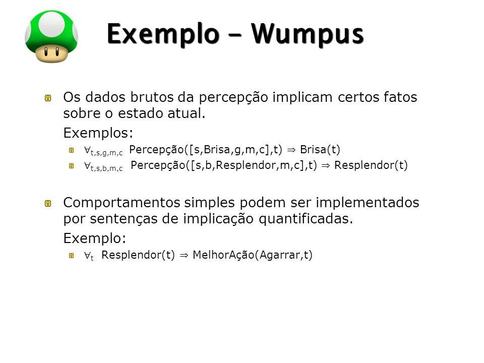 LOGO Exemplo - Wumpus Os dados brutos da percepção implicam certos fatos sobre o estado atual. Exemplos: t,s,g,m,c Percepção([s,Brisa,g,m,c],t) Brisa(