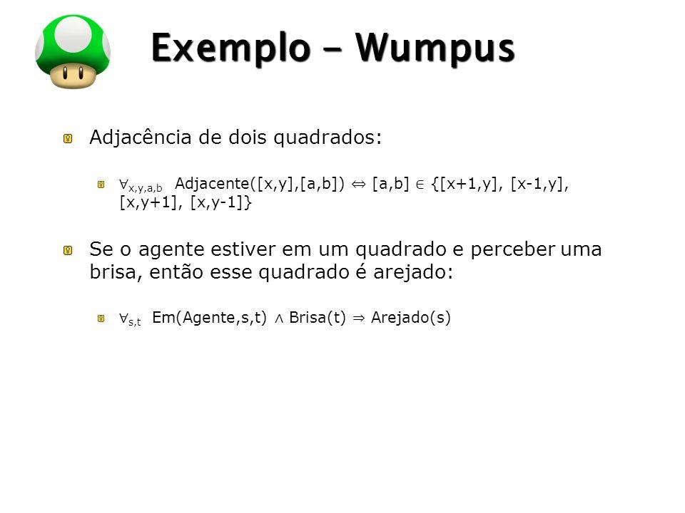 LOGO Exemplo - Wumpus Adjacência de dois quadrados: x,y,a,b Adjacente([x,y],[a,b]) [a,b] {[x+1,y], [x-1,y], [x,y+1], [x,y-1]} Se o agente estiver em u