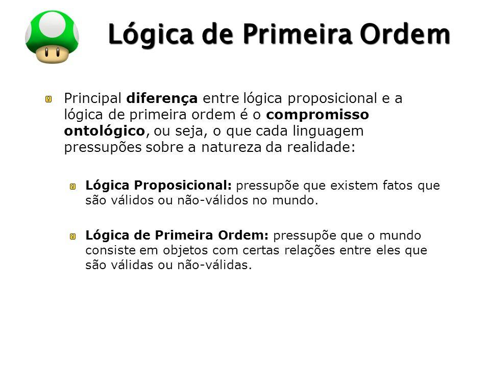 LOGO Lógica de Primeira Ordem Principal diferença entre lógica proposicional e a lógica de primeira ordem é o compromisso ontológico, ou seja, o que c