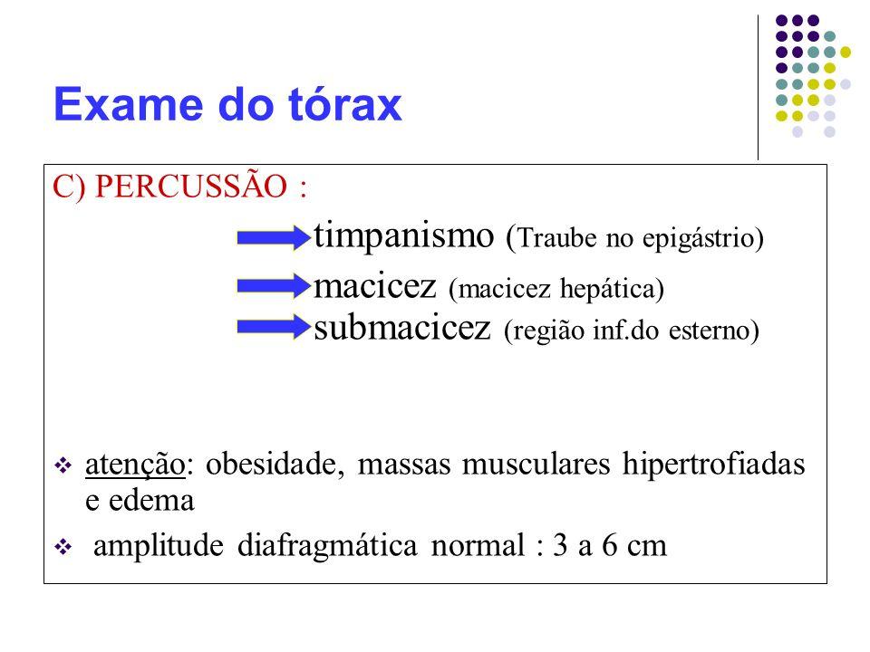 Exame do tórax C) PERCUSSÃO : timpanismo ( Traube no epigástrio) macicez (macicez hepática) submacicez (região inf.do esterno) atenção: obesidade, massas musculares hipertrofiadas e edema amplitude diafragmática normal : 3 a 6 cm