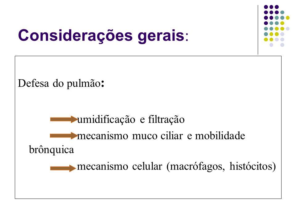 Considerações gerais : Defesa do pulmão : umidificação e filtração mecanismo muco ciliar e mobilidade brônquica mecanismo celular (macrófagos, histócitos)
