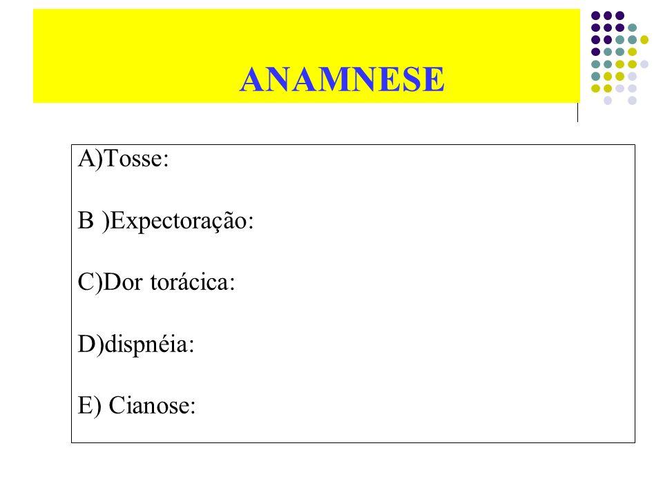 ANAMNESE A)Tosse: B )Expectoração: C)Dor torácica: D)dispnéia: E) Cianose: