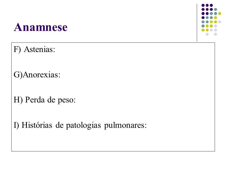 Anamnese F) Astenias: G)Anorexias: H) Perda de peso: I) Histórias de patologias pulmonares: