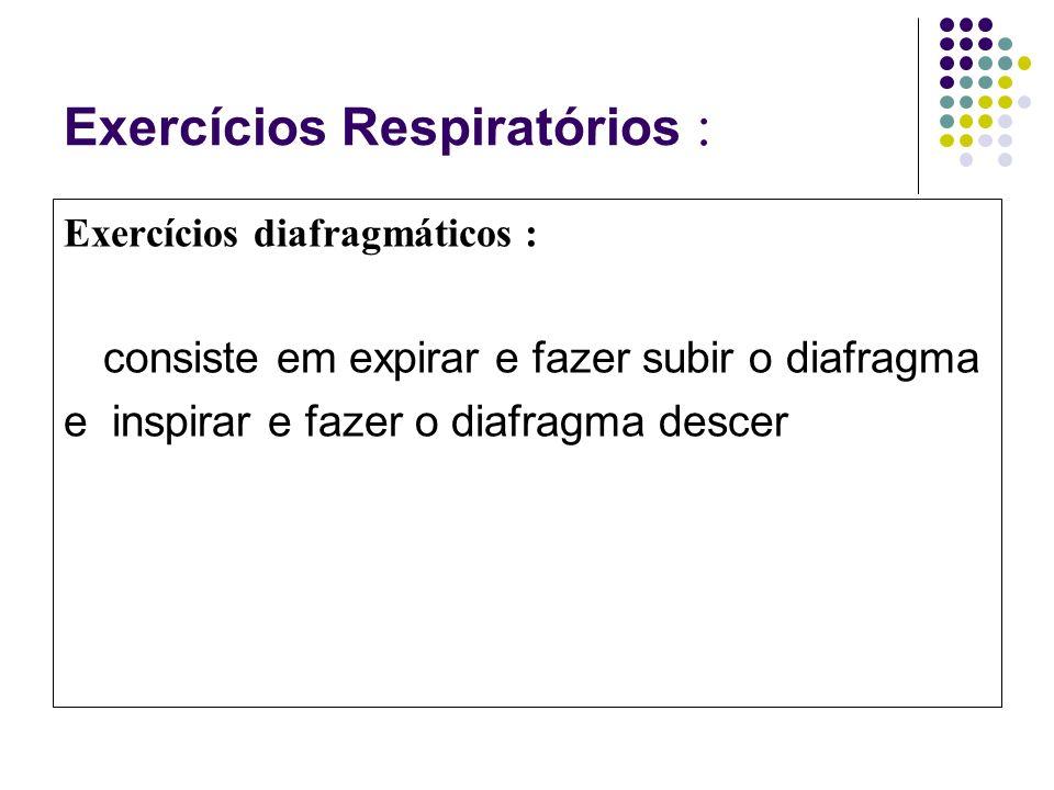 Exercícios Respiratórios : Exercícios diafragmáticos : consiste em expirar e fazer subir o diafragma e inspirar e fazer o diafragma descer