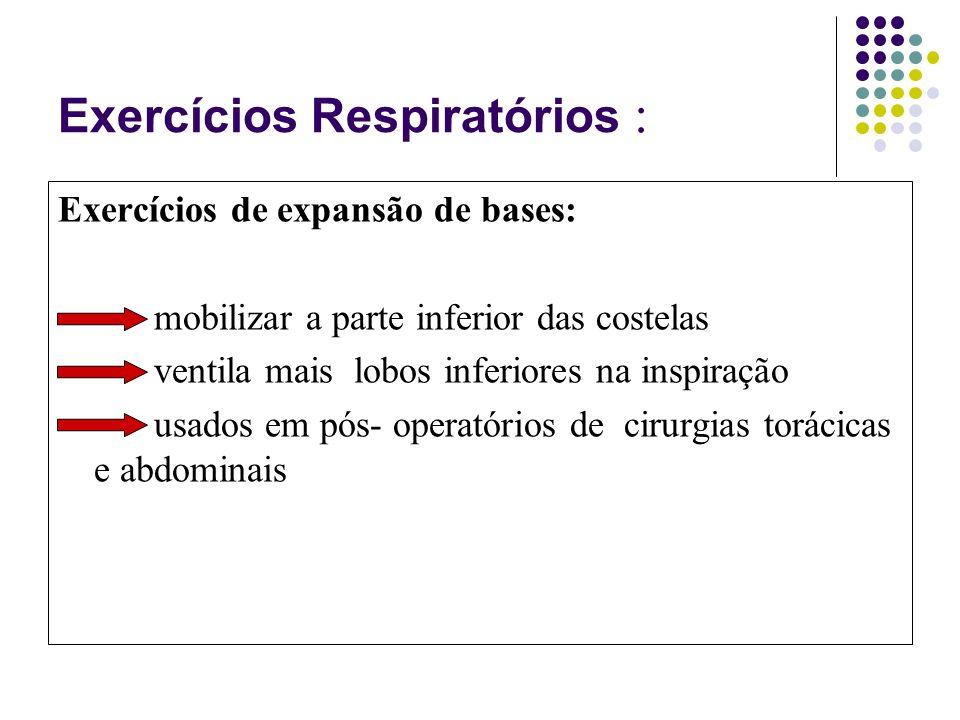 Exercícios Respiratórios : Exercícios de expansão de bases: mobilizar a parte inferior das costelas ventila mais lobos inferiores na inspiração usados em pós- operatórios de cirurgias torácicas e abdominais