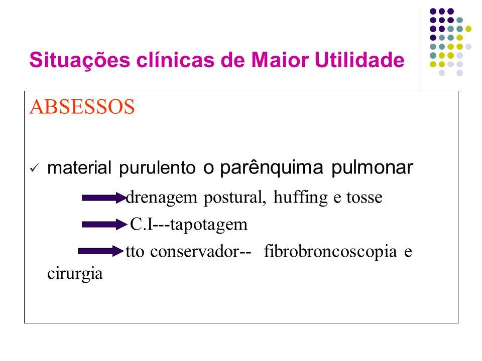 Situações clínicas de Maior Utilidade ABSESSOS material purulento o parênquima pulmonar drenagem postural, huffing e tosse C.I---tapotagem tto conservador-- fibrobroncoscopia e cirurgia