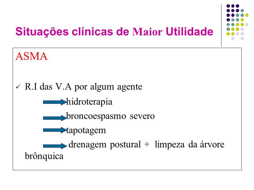Situações clínicas de Maior Utilidade ASMA R.I das V.A por algum agente hidroterapia broncoespasmo severo tapotagem drenagem postural + limpeza da árvore brônquica