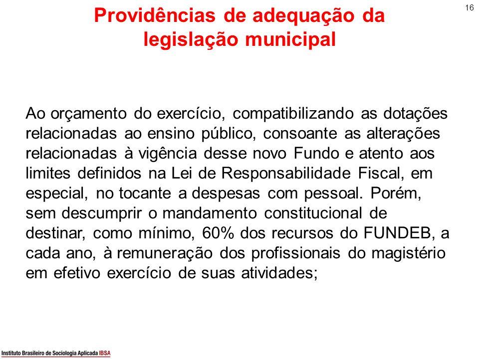16 Providências de adequação da legislação municipal Ao orçamento do exercício, compatibilizando as dotações relacionadas ao ensino público, consoante