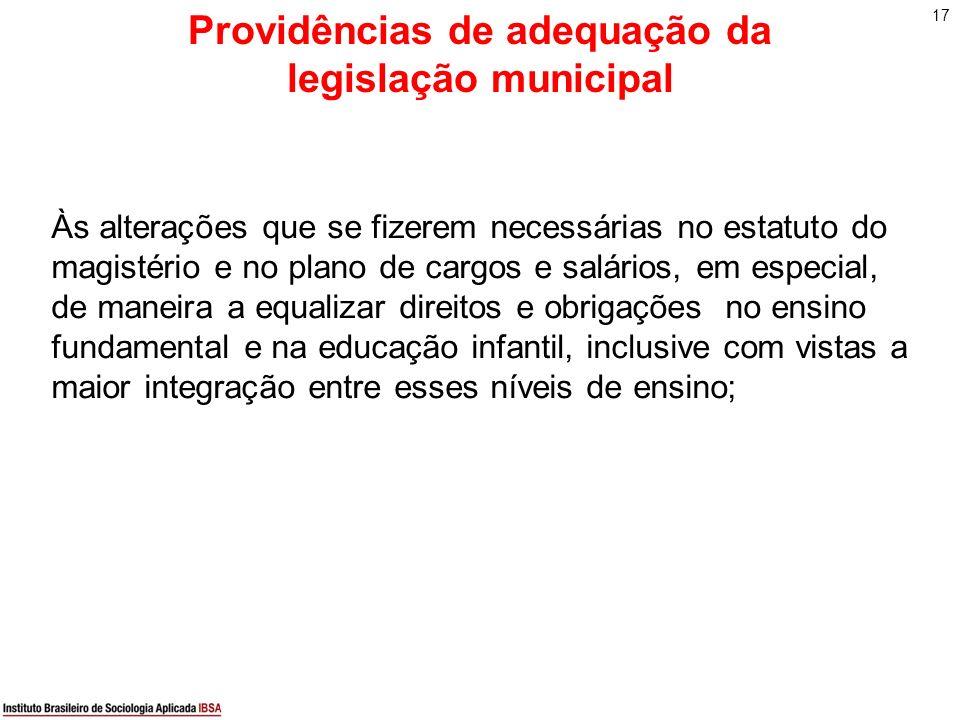 17 Providências de adequação da legislação municipal Às alterações que se fizerem necessárias no estatuto do magistério e no plano de cargos e salário