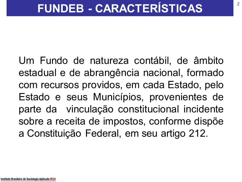 2 FUNDEB - CARACTERÍSTICAS Um Fundo de natureza contábil, de âmbito estadual e de abrangência nacional, formado com recursos providos, em cada Estado,