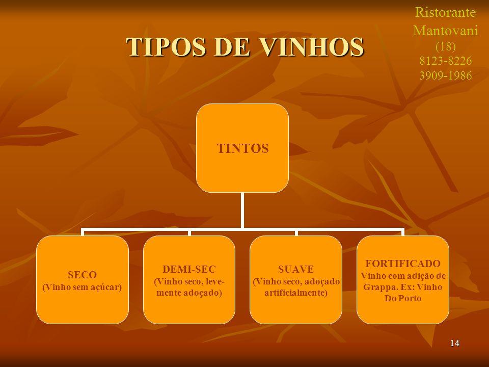 14 TIPOS DE VINHOS TINTOS SECO (Vinho sem açúcar) DEMI-SEC (Vinho seco, leve- mente adoçado) SUAVE (Vinho seco, adoçado artificialmente) FORTIFICADO V
