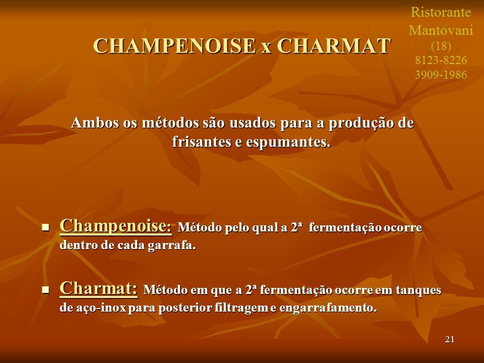 21 CHAMPENOISE x CHARMAT Ambos os métodos são usados para a produção de frisantes e espumantes. Champenoise : Método pelo qual a 2ª fermentação ocorre