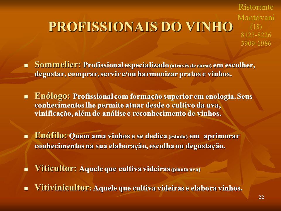 22 PROFISSIONAIS DO VINHO Sommelier: Profissional especializado (através de curso) em escolher, degustar, comprar, servir e/ou harmonizar pratos e vin