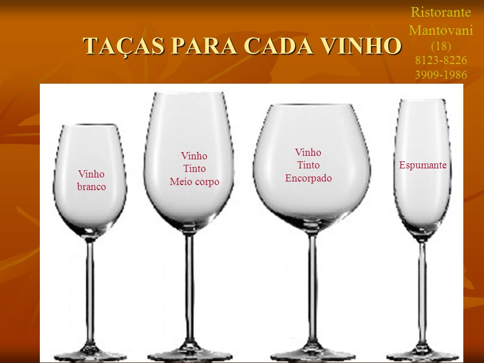 25 TAÇAS PARA CADA VINHO Vinho branco Vinho Tinto Meio corpo Vinho Tinto Encorpado Espumante Ristorante Mantovani (18) 8123-8226 3909-1986