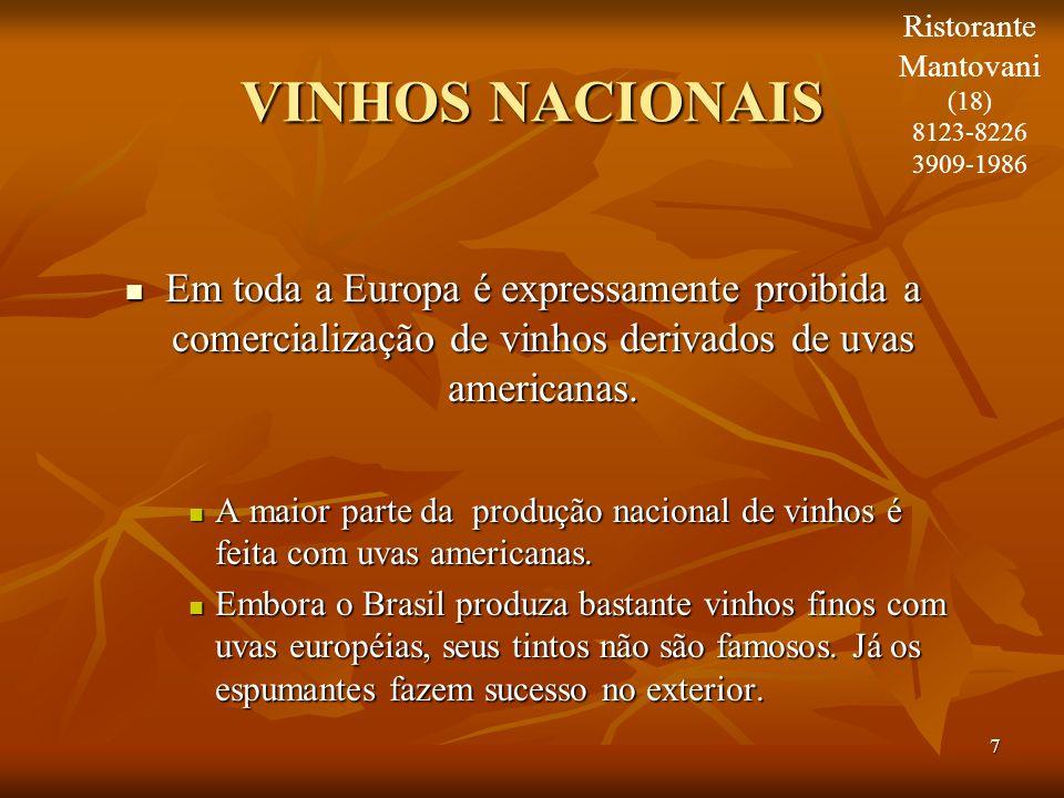 7 VINHOS NACIONAIS Em toda a Europa é expressamente proibida a comercialização de vinhos derivados de uvas americanas. Em toda a Europa é expressament