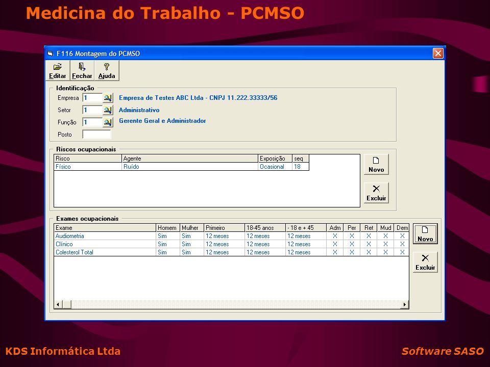 KDS Informática Ltda Software SASO Medicina do Trabalho - PCMSO