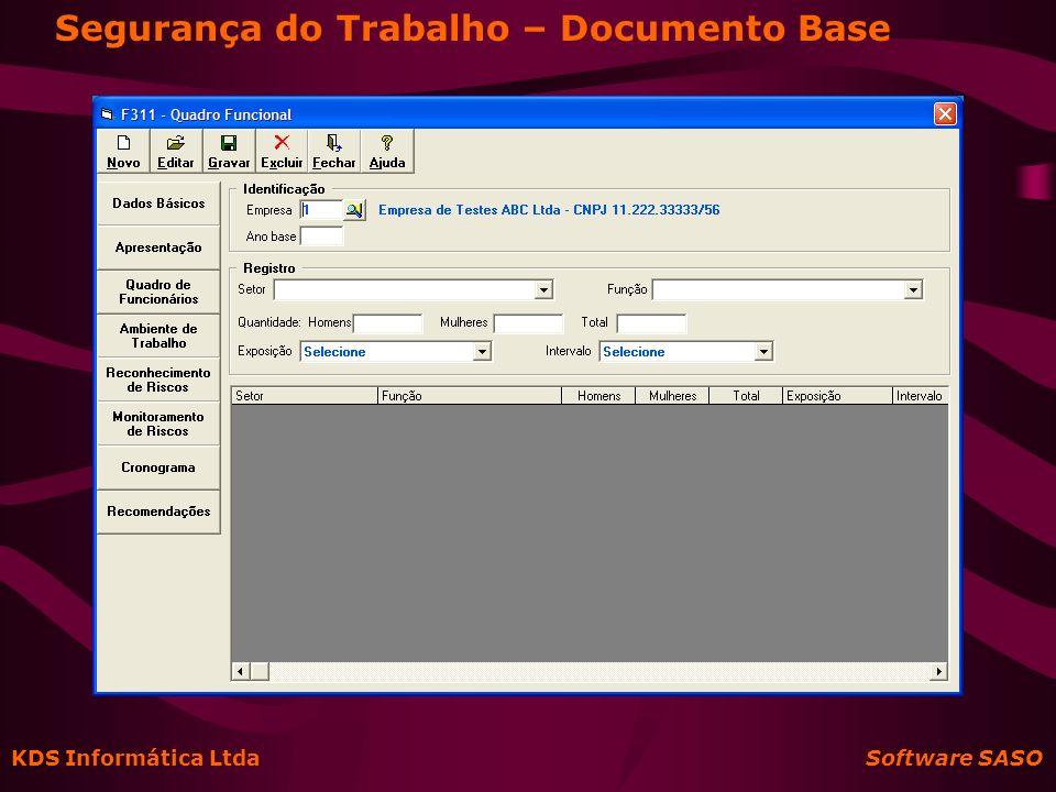 KDS Informática Ltda Software SASO Segurança do Trabalho – PPP