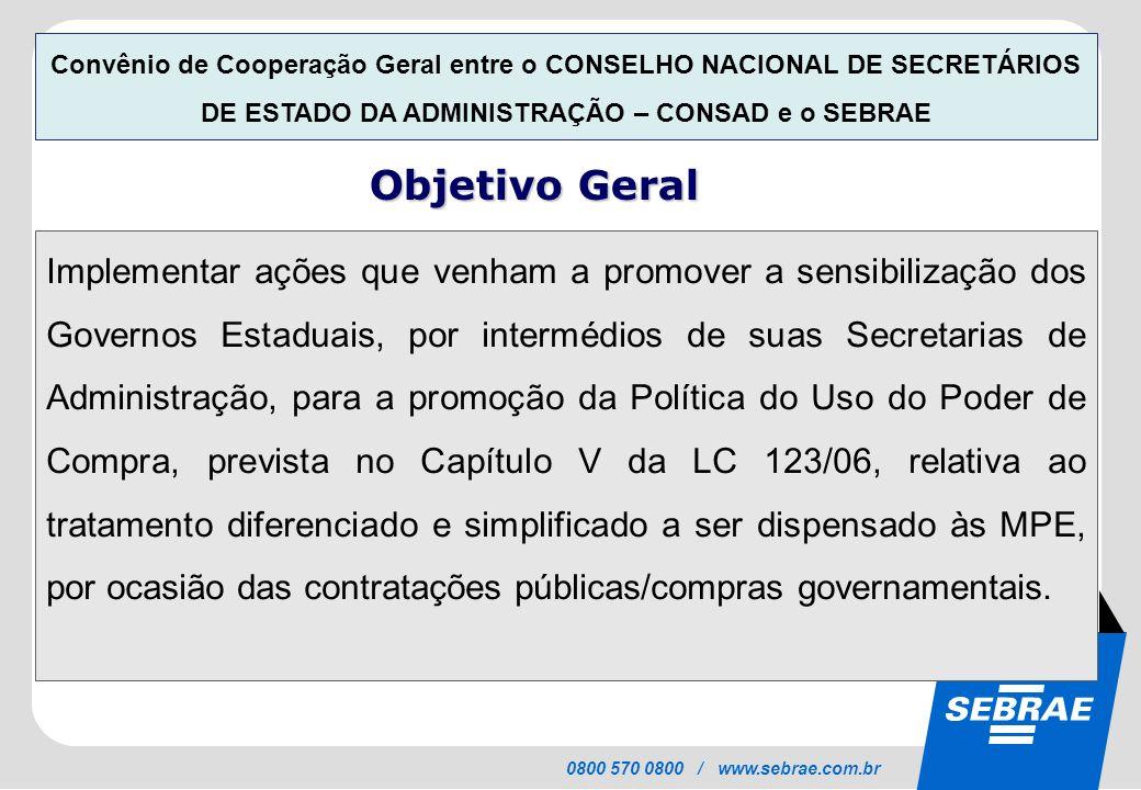 SEBRAE 0800 570 0800 / www.sebrae.com.br Implementar ações que venham a promover a sensibilização dos Governos Estaduais, por intermédios de suas Secr