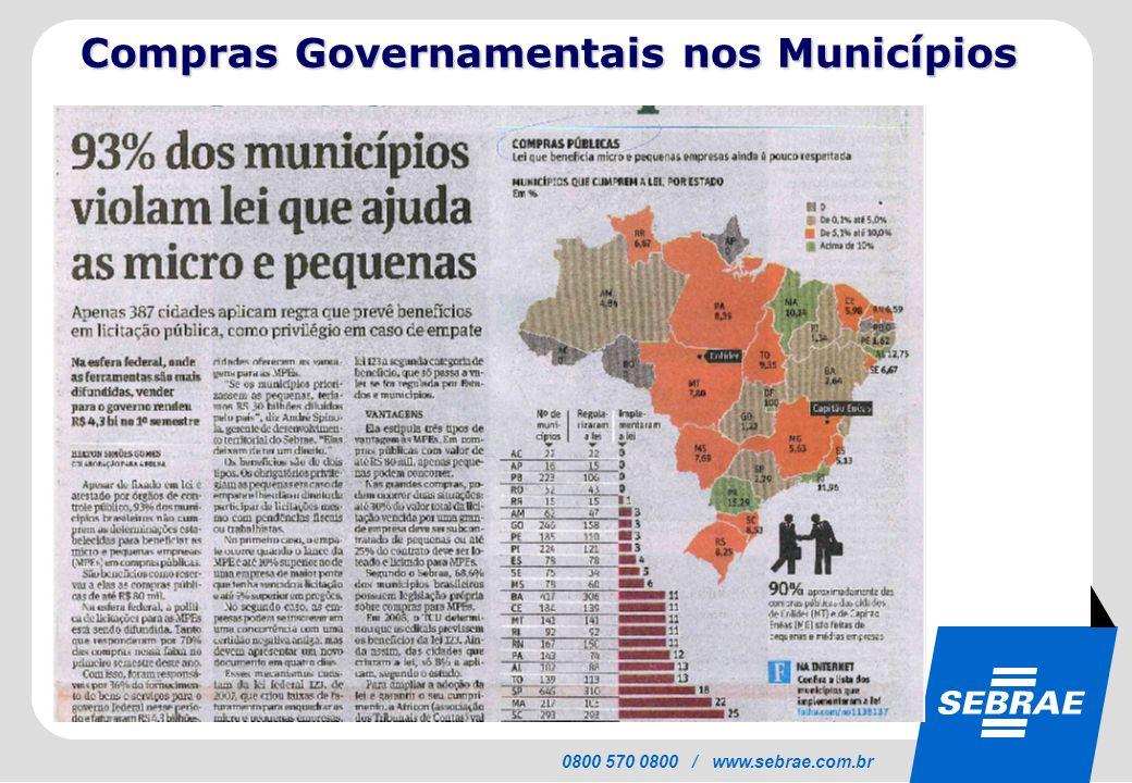 SEBRAE 0800 570 0800 / www.sebrae.com.br Compras Governamentais nos Municípios