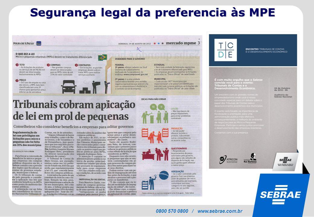 SEBRAE 0800 570 0800 / www.sebrae.com.br Segurança legal da preferencia às MPE