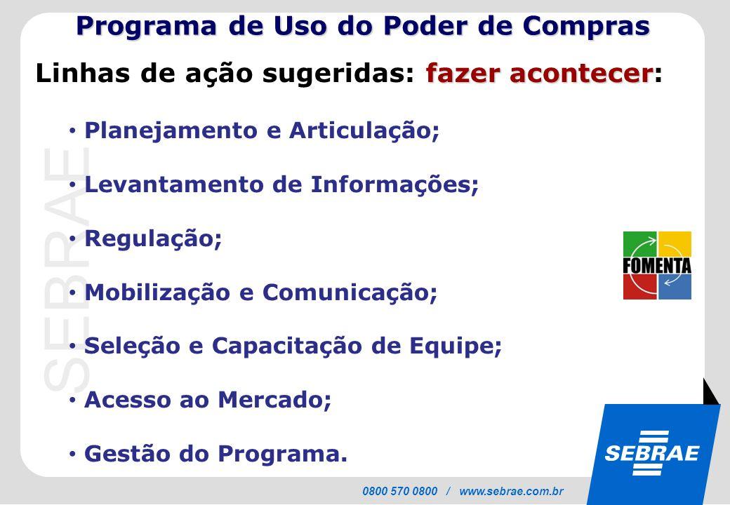 SEBRAE 0800 570 0800 / www.sebrae.com.br fazer acontecer Linhas de ação sugeridas: fazer acontecer: Planejamento e Articulação; Levantamento de Inform