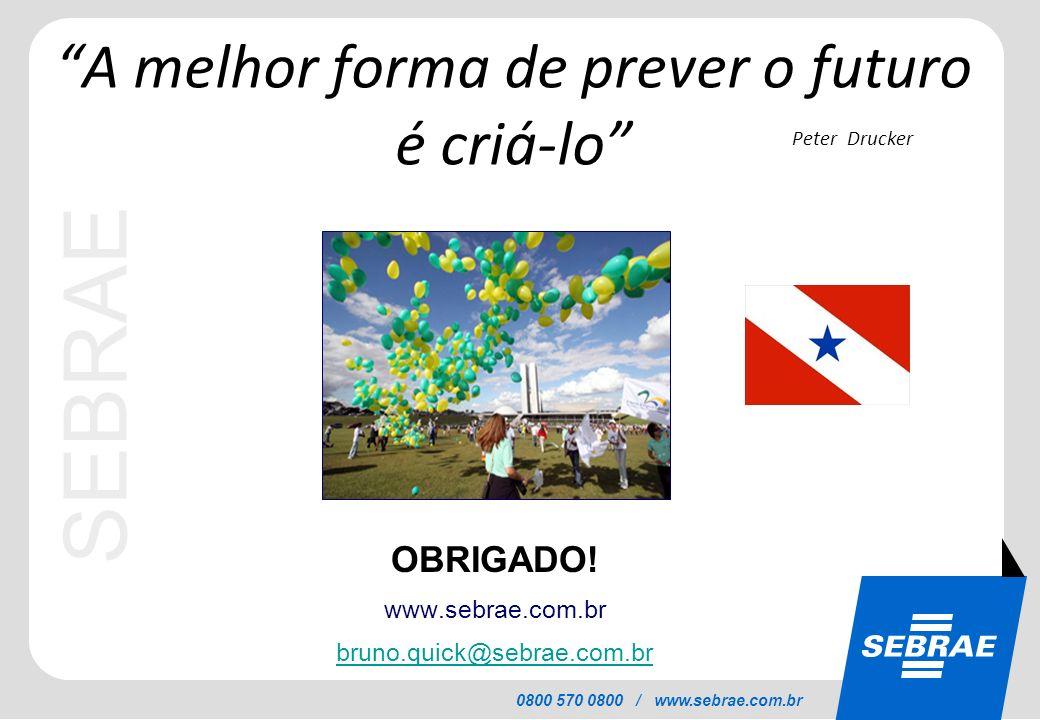 SEBRAE 0800 570 0800 / www.sebrae.com.br OBRIGADO! www.sebrae.com.br bruno.quick@sebrae.com.br A melhor forma de prever o futuro é criá-lo Peter Druck
