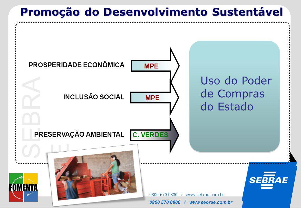 SEBRAE 0800 570 0800 / www.sebrae.com.br SEBRA E 0800 570 0800 / www.sebrae.com.br PROSPERIDADE ECONÔMICA MPE INCLUSÃO SOCIAL PRESERVAÇÃO AMBIENTAL Us