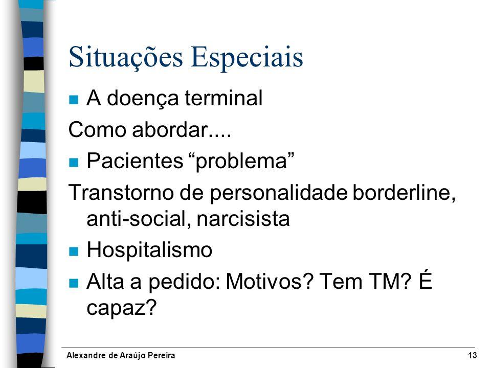 Alexandre de Araújo Pereira13 Situações Especiais n A doença terminal Como abordar....