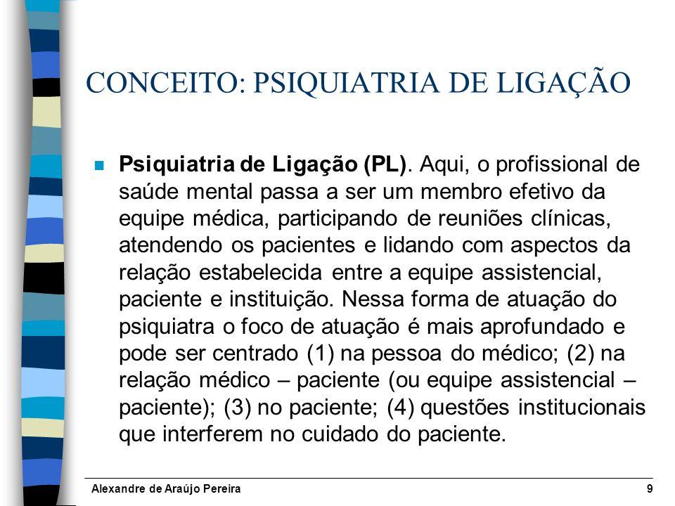 Alexandre de Araújo Pereira9 CONCEITO: PSIQUIATRIA DE LIGAÇÃO n Psiquiatria de Ligação (PL).