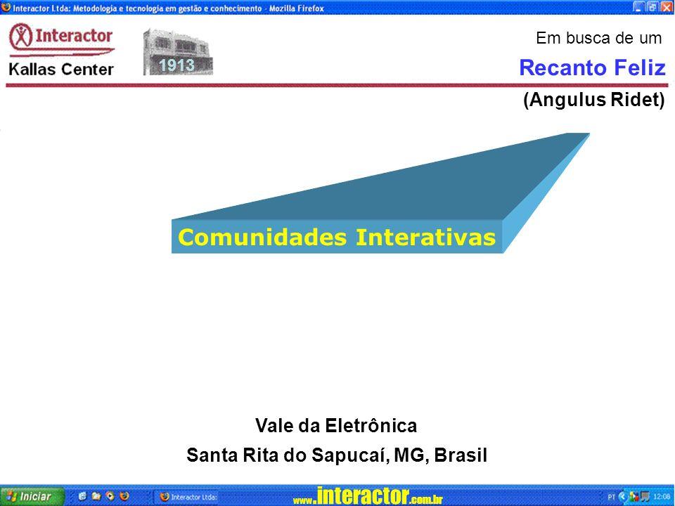 www.interactor.com.br 1913 Vale da Eletrônica Santa Rita do Sapucaí, MG, Brasil Recanto Feliz (Angulus Ridet) Em busca de um Comunidades Interativas