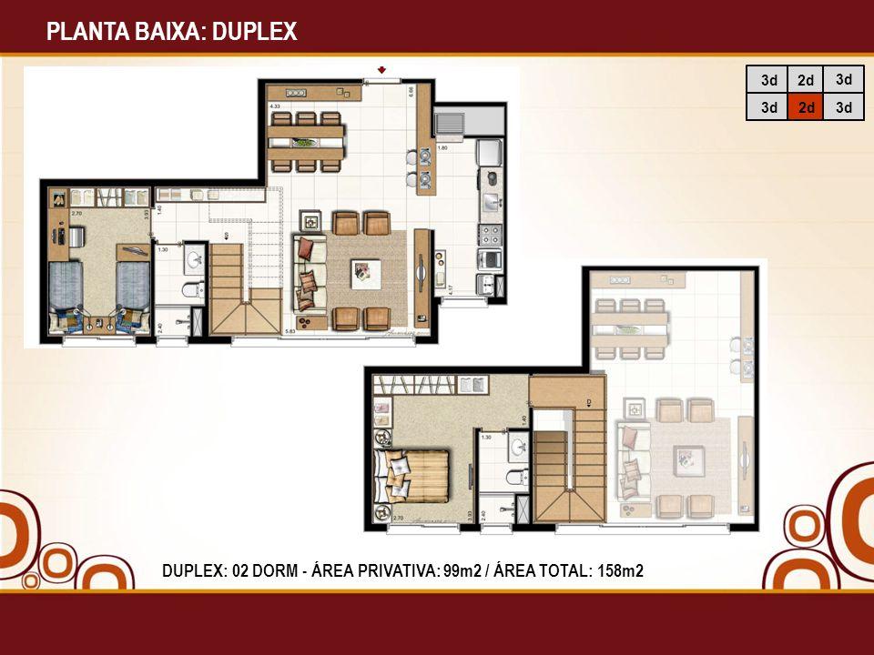 PLANTA BAIXA: DUPLEX 3d2d 3d DUPLEX: 02 DORM - ÁREA PRIVATIVA: 99m2 / ÁREA TOTAL: 158m2